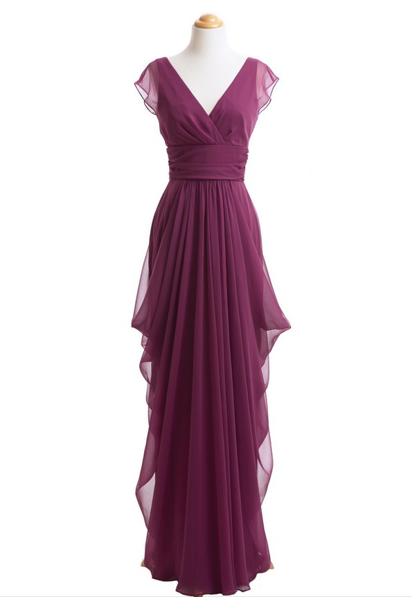 V Neck Bridesmaid Dress Grape Purple Chiffon Long Elegant